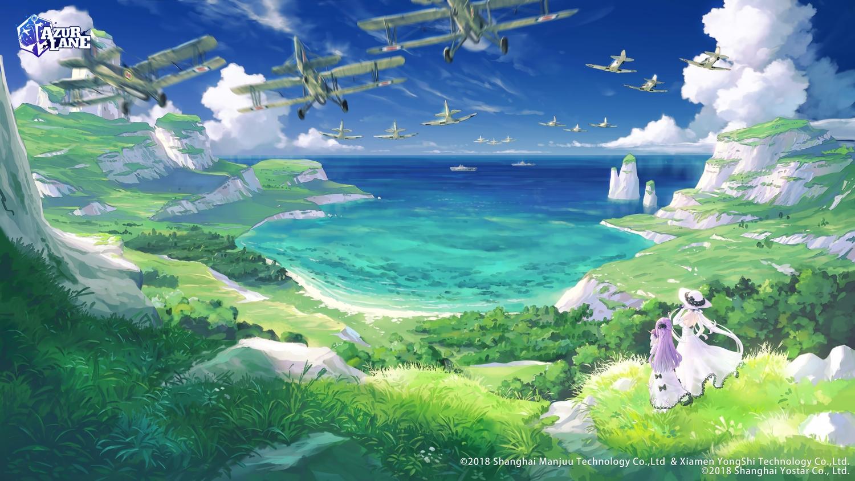 2girls aircraft anthropomorphism azur_lane clouds dress hat illustrious_(azur_lane) landscape logo long_hair purple_hair scenic sky suzuke twintails unicorn_(azur_lane) water white_hair