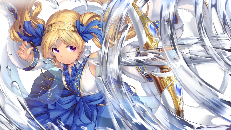 blonde_hair bow_(weapon) chain emily_stewart idolmaster idolmaster_million_live! karisuwaya long_hair purple_eyes twintails water weapon