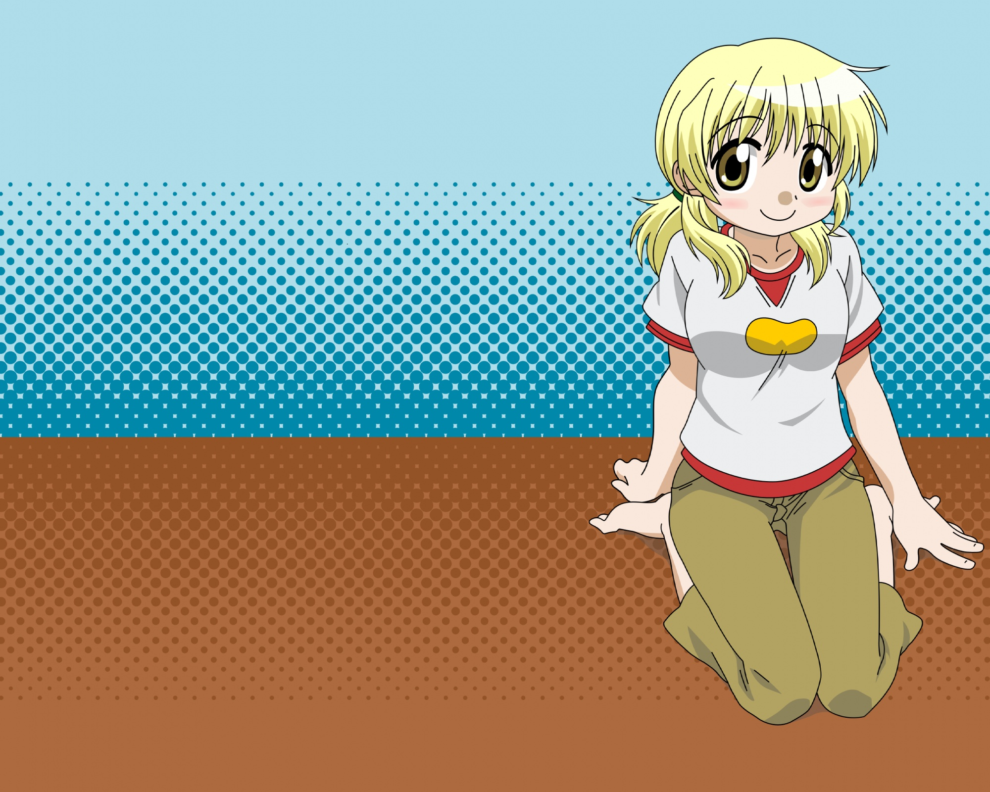 barefoot blonde_hair blue blush brown hidamari_sketch miyako vector yellow_eyes