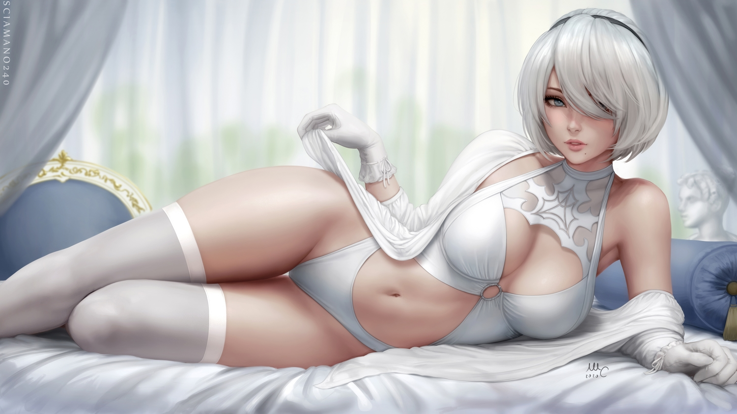 bed blue_eyes breasts cleavage gloves headband leotard navel nier nier:_automata realistic sciamano240 short_hair signed thighhighs watermark white_hair yorha_unit_no._2_type_b
