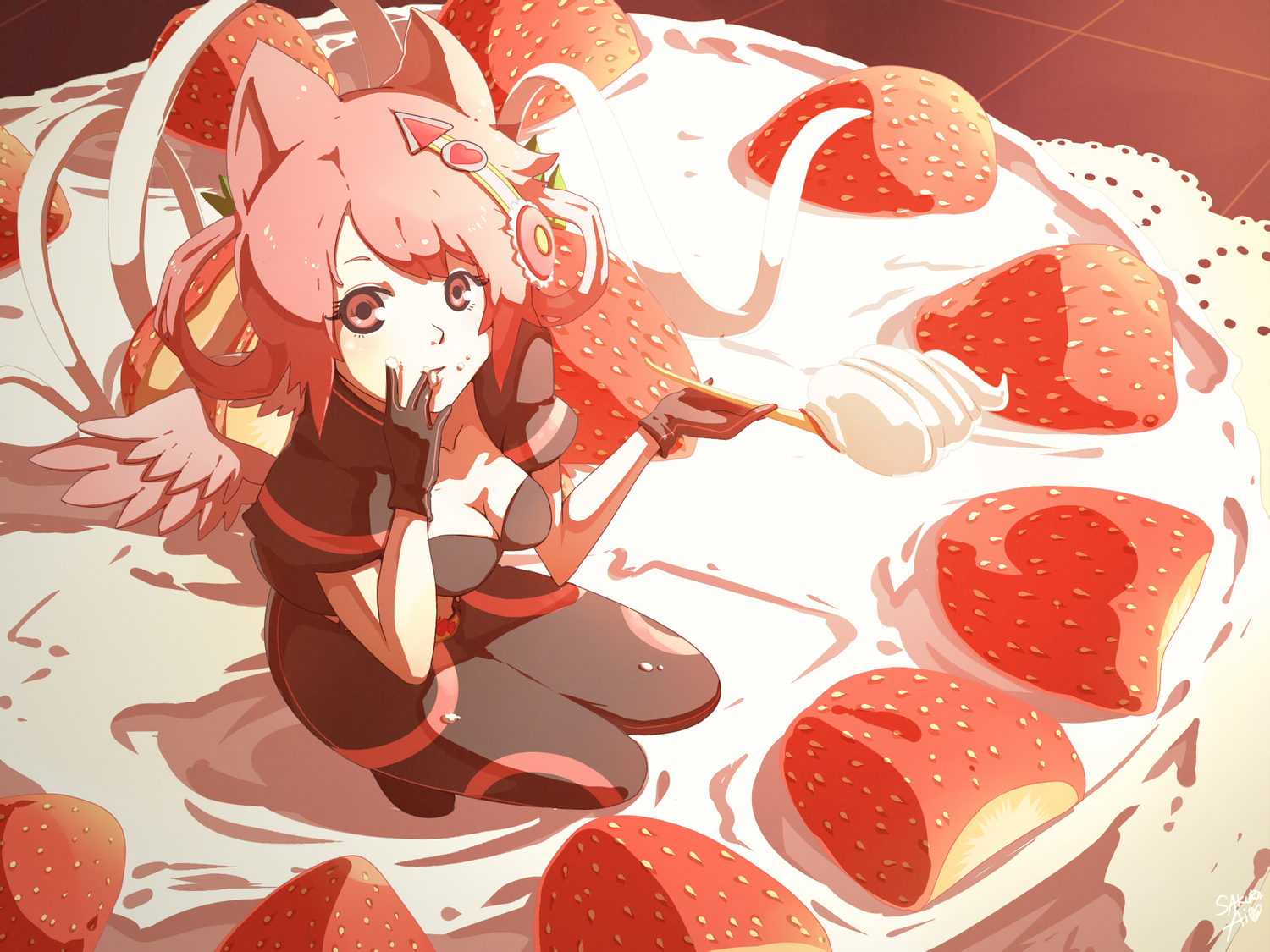 animal_ears bodysuit ceal-sakura-ai cleavage food red_hair strawberry wings