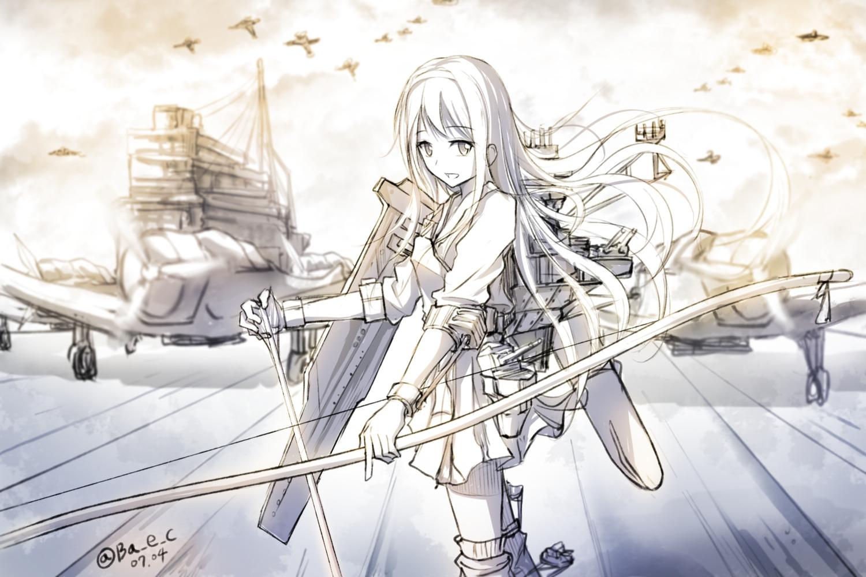 aircraft anthropomorphism bow_(weapon) boyogo headband kantai_collection long_hair monochrome shoukaku_(kancolle) signed sketch uniform weapon white_hair