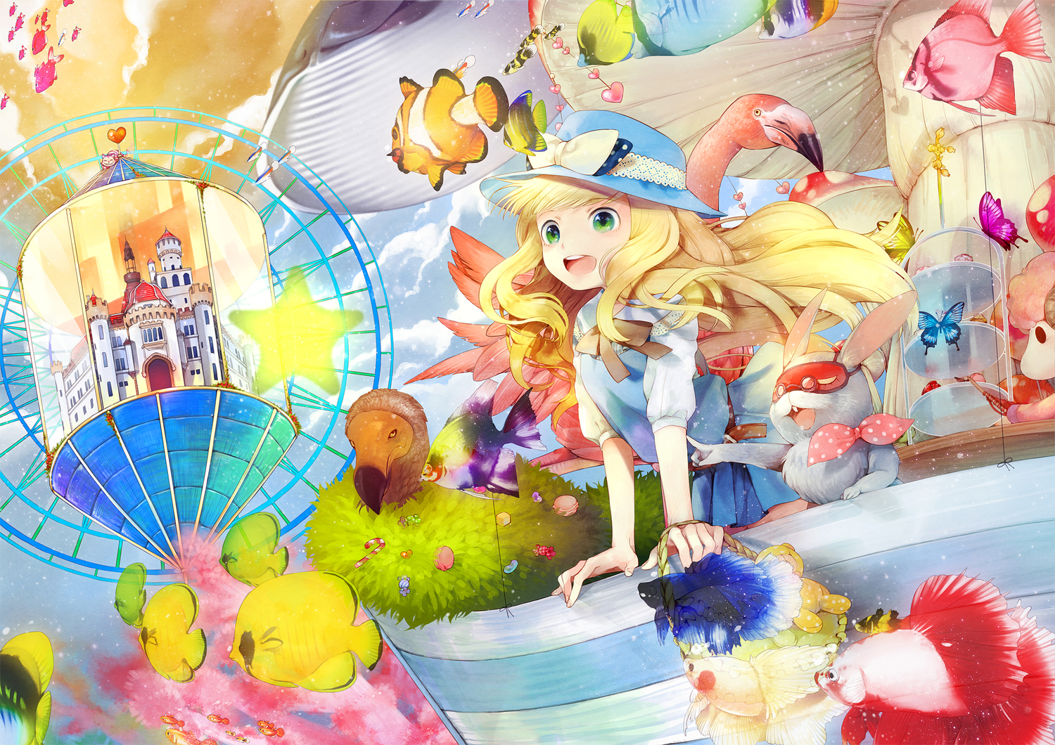 alice_(wonderland) alice_in_wonderland animal bird blonde_hair bow bunny butterfly cherry_blossoms cheshire_cat clouds dress fish food glasses green_eyes hakusai hat long_hair stars