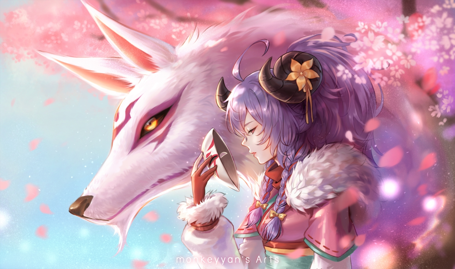 animal braids cherry_blossoms flowers gloves hoodie horns japanese_clothes kindred league_of_legends long_hair mask petals ponytail purple_hair red_eyes watermark wolf yan_wong