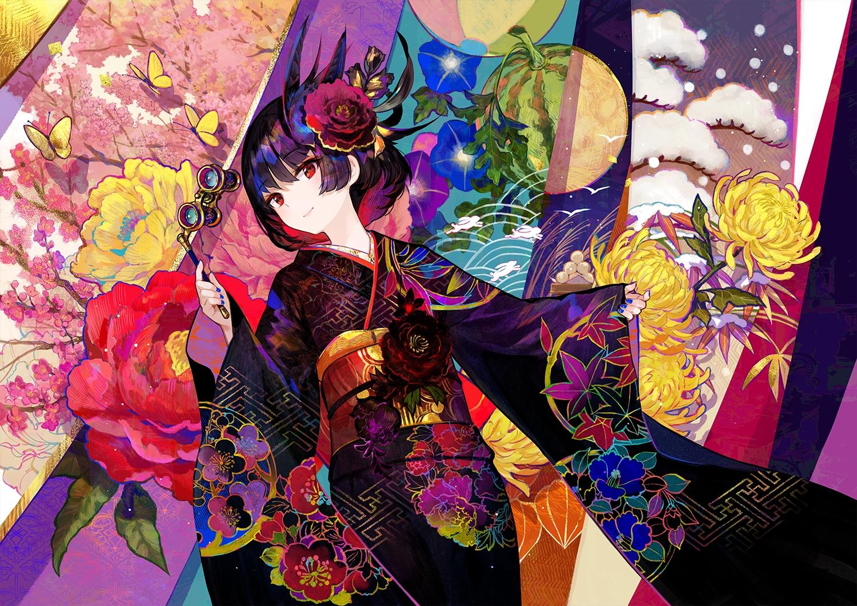 autumn black_hair butterfly flowers food fruit fuji_choko japanese_clothes kimono moon original red_eyes short_hair snow spring summer watermelon winter