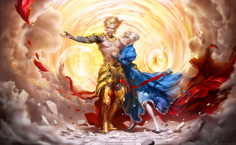 anastasia_bulgakova armor artoria_pendragon_(all) blonde_hair cape dress fate_(series) fate/stay_night gilgamesh male realistic saber short_hair torn_clothes