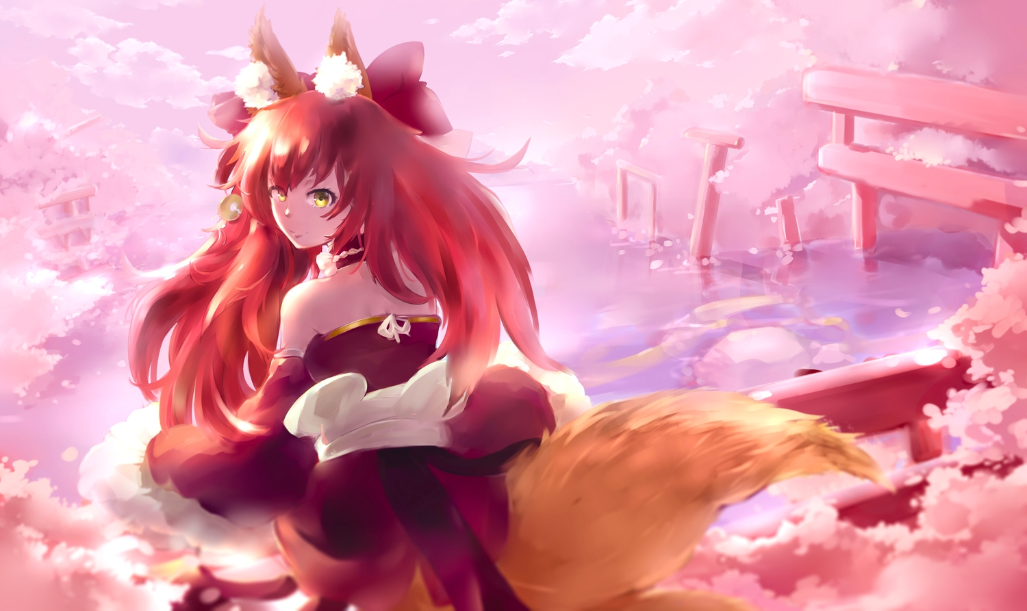 animal_ears bow fate/extra fate/grand_order fate_(series) foxgirl japanese_clothes long_hair mochigome_(fatelly) red_hair ruins tail tamamo_no_mae_(fate) tree yellow_eyes
