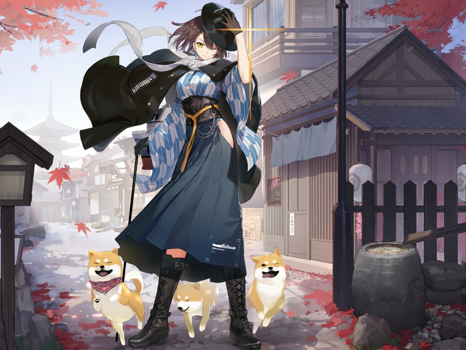animal anthropomorphism autumn azur_lane baltimore_(azur_lane) boots building cape city cropped dog feng_ze gloves hat japanese_clothes leaves short_hair water yellow_eyes