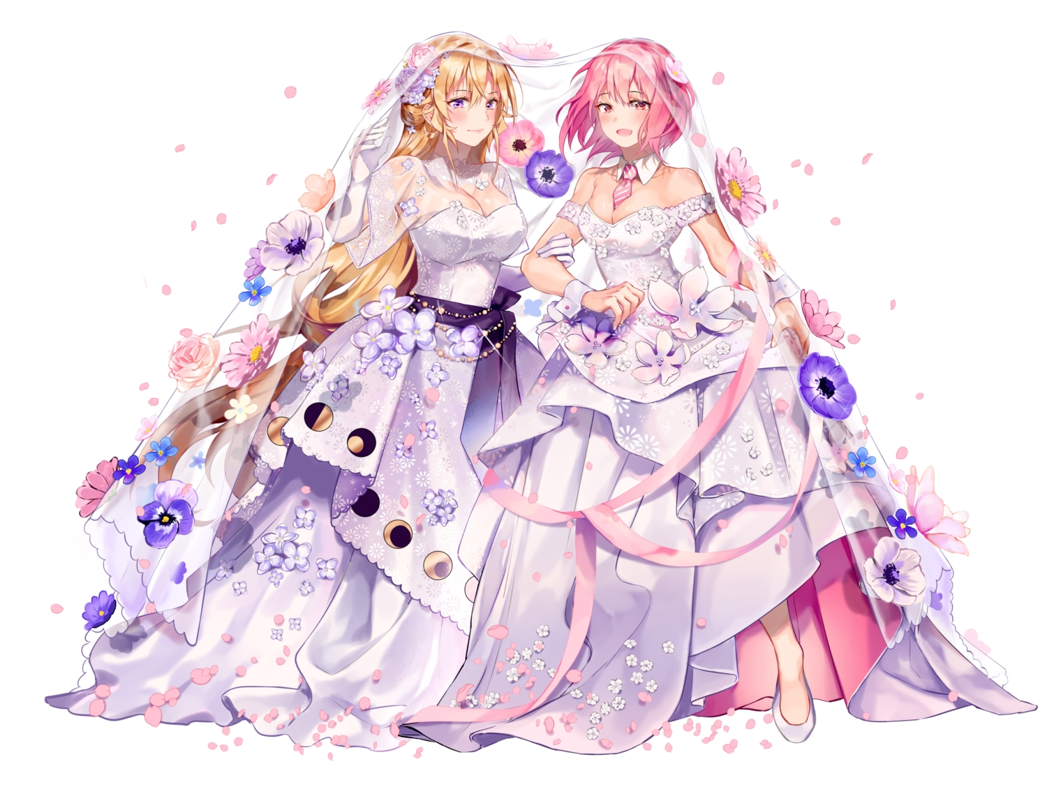 2girls aliasing arato_hisako blonde_hair blush breasts cleavage elbow_gloves flowers gloves heikong long_hair nakiri_erina petals pink_hair purple_eyes red_eyes ribbons rose see_through shokugeki_no_souma short_hair shoujo_ai tie wedding wedding_attire white wristwear