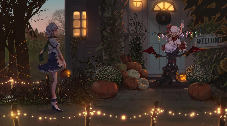apron building dark flandre_scarlet halloween izayoi_sakuya kezhou loli remilia_scarlet short_hair signed socks touhou vampire