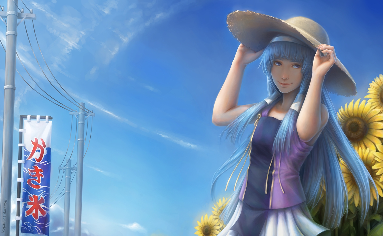 blue_eyes blue_hair clouds flowers hat jason_peng kannagi_crazy_shrine_maidens long_hair nagi realistic sky sunflower