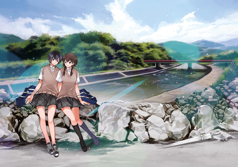 2girls chris4708 kneehighs original school_uniform