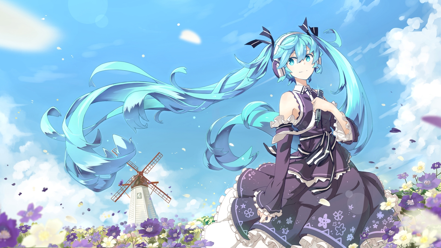aqua_eyes aqua_hair flowers hatsune_miku headphones lf long_hair microphone petals ribbons scenic skirt tie twintails vocaloid windmill