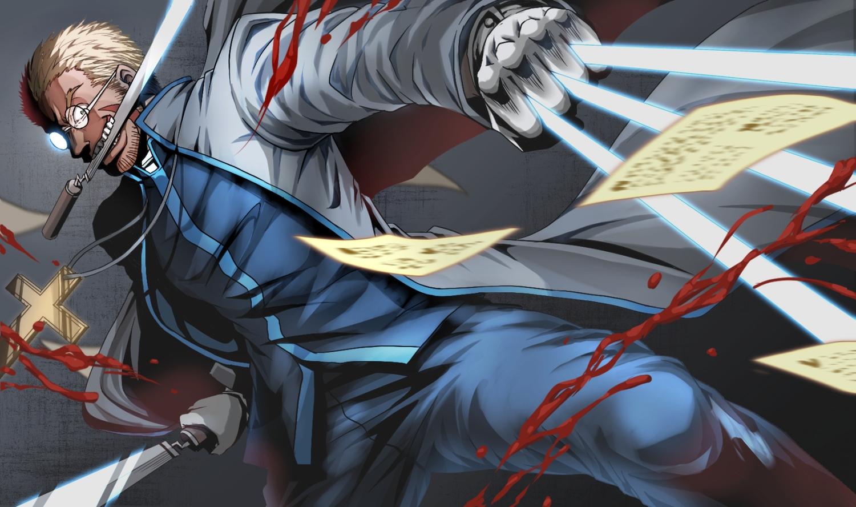 alexander_anderson all_male blonde_hair blood blue_eyes cross glasses gloves hellsing knife mabin male paper scar uniform weapon