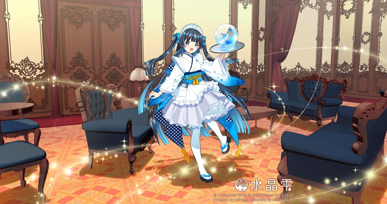 apron ball black_hair blue_eyes crystal_dew_world headdress kirino_kasumu lolita_fashion long_hair magic maid original suishou_shizuku twintails watermark