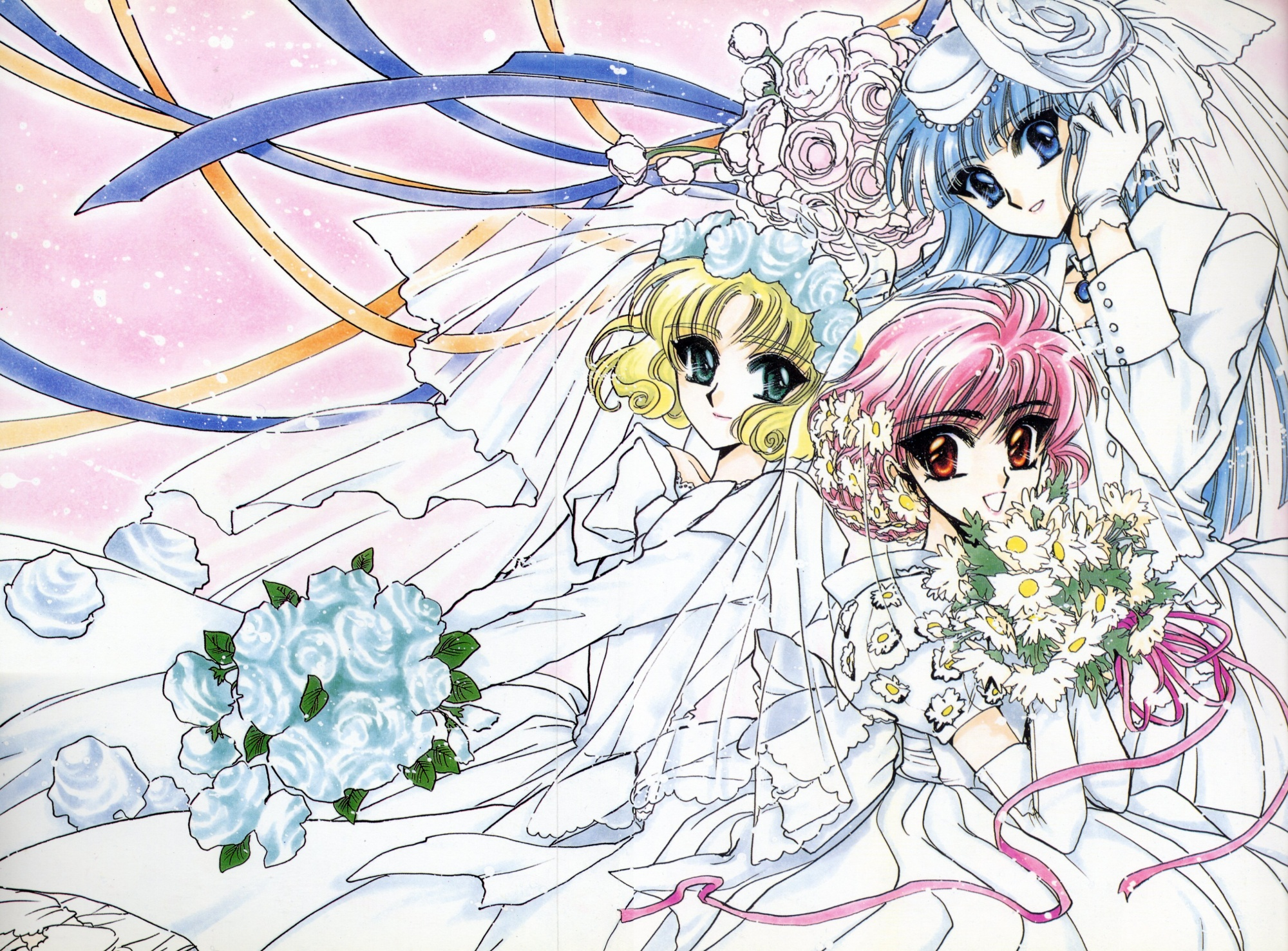clamp hoouji_fuu magic_knight_rayearth ryuuzaki_umi shidou_hikaru wedding wedding_attire