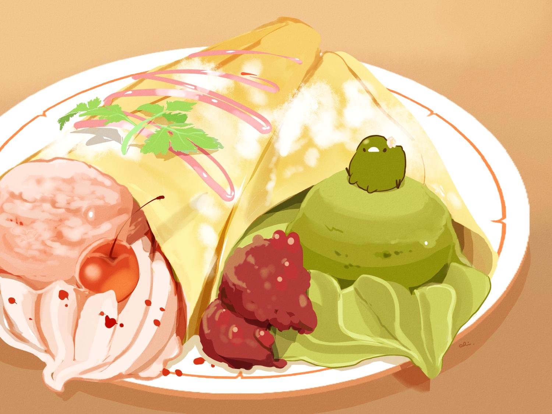 animal bird brown chai_(artist) cherry food fruit ice_cream nobody original signed