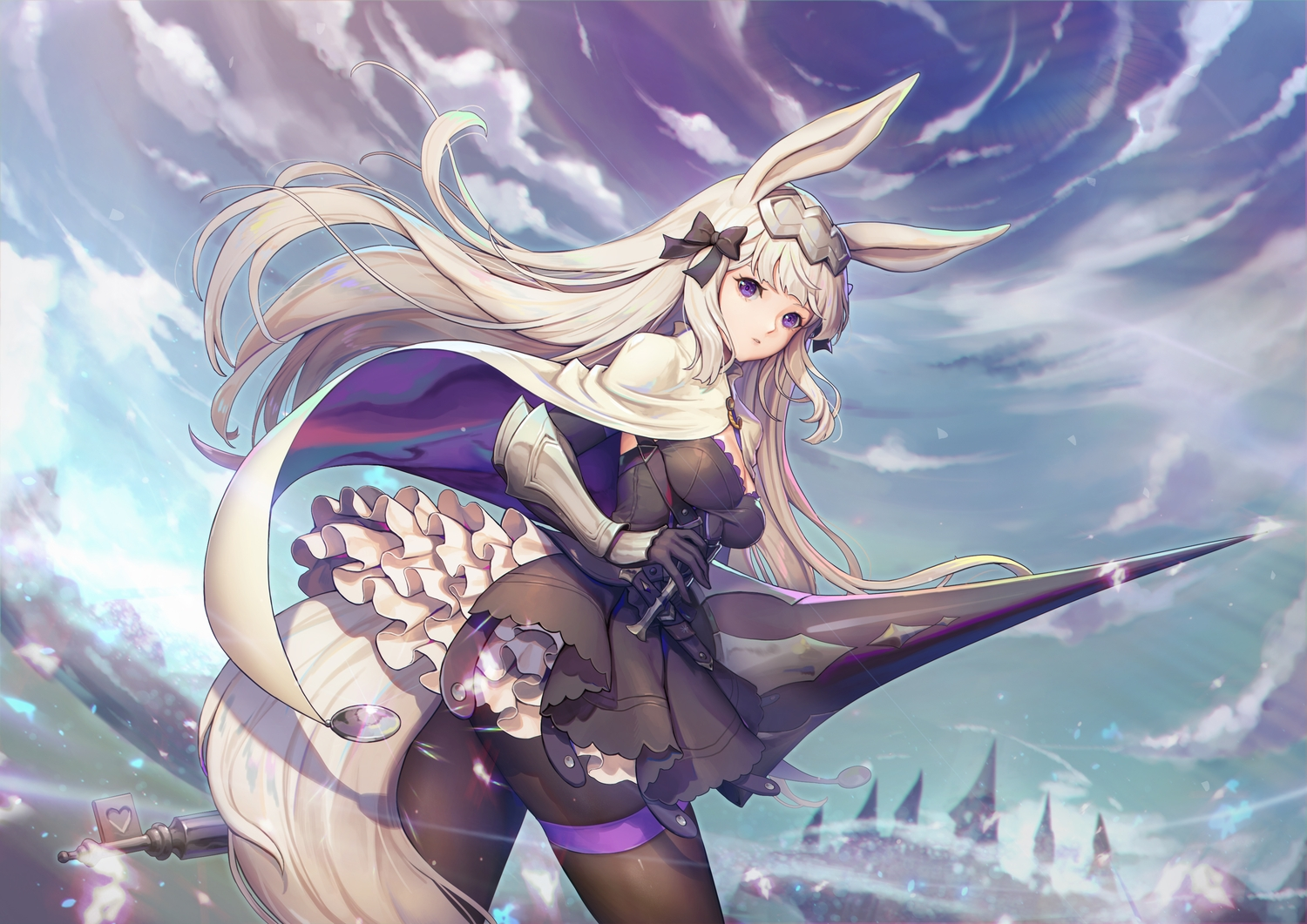 animal_ears bunny_ears clouds dress long_hair pantyhose purple_eyes red:_pride_of_eden sky spear tail ursula_(red:_pride_of_eden) weapon white_hair y.i._(lave2217)