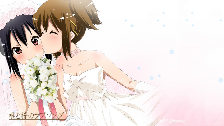 black_hair blush bow brown_eyes brown_hair choker flowers gloves hat hirasawa_yui kiss k-on! nakano_azusa rose shoujo_ai third-party_edit wedding_attire white