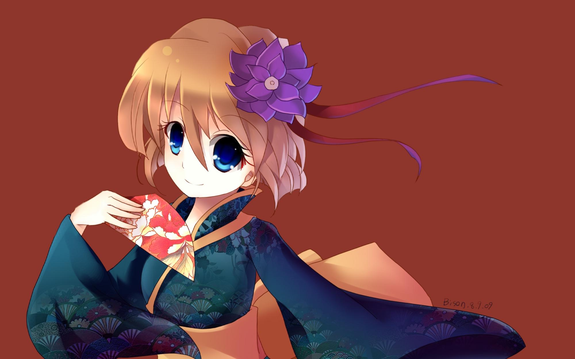 blue_eyes detective_conan flowers haibara_ai japanese_clothes kimono orange_hair short_hair