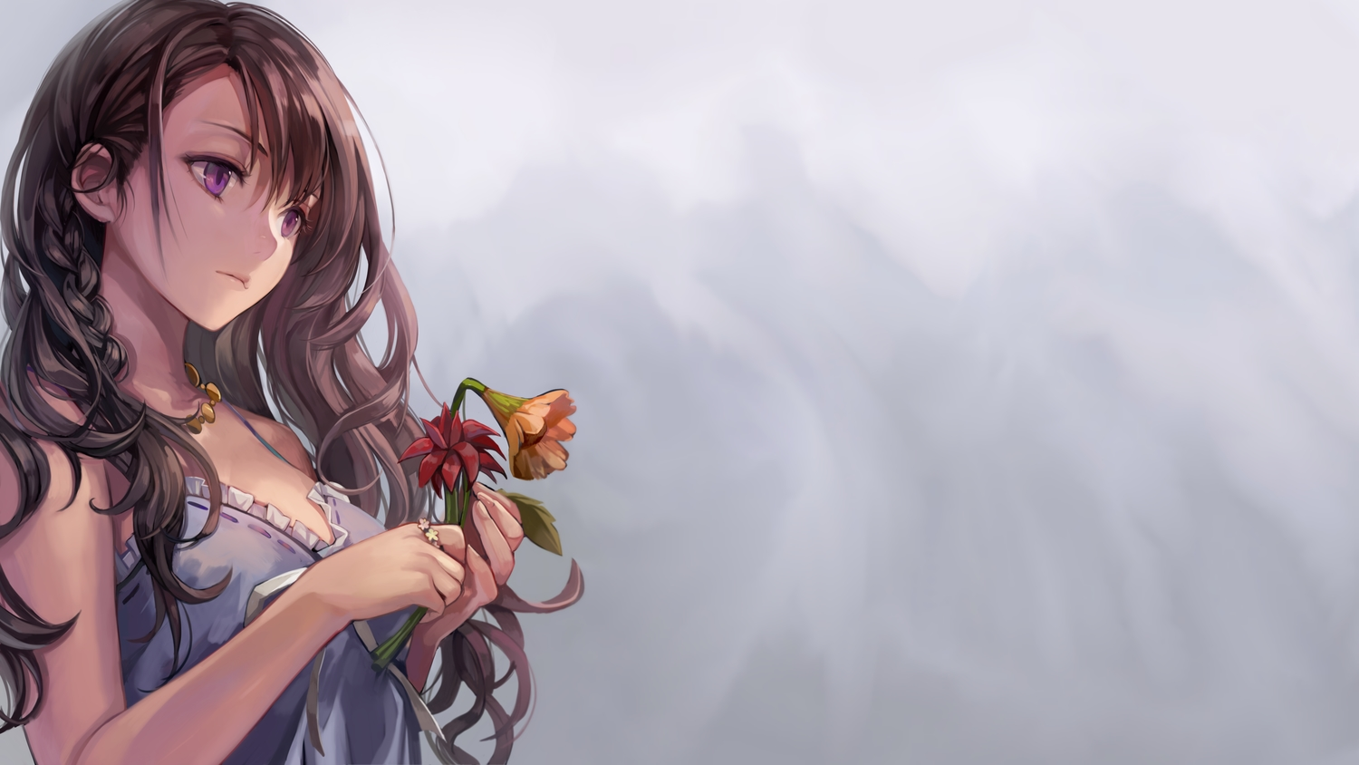 braids brown_hair flowers gradient long_hair momoko_(momopoco) necklace original purple_eyes third-party_edit