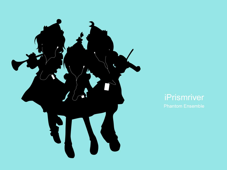 ipod lunasa_prismriver lyrica_prismriver merlin_prismriver parody silhouette touhou