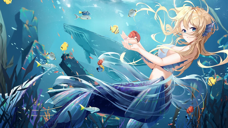 animal aqua_eyes bikini_top blonde_hair daidai_gege fish long_hair mermaid original underwater water
