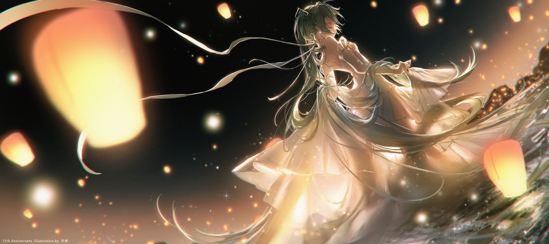 dress hatsune_miku lengchan_(fu626878068) long_hair miku_symphony_(vocaloid) night twintails vocaloid watermark