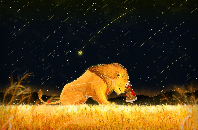 animal ao_(aohari) lion original polychromatic scarf stars
