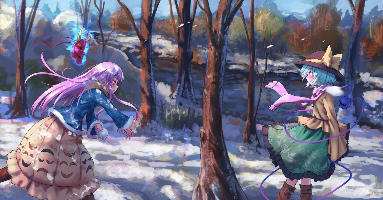 aqua_eyes aqua_hair boots forest hat hata_no_kokoro komeiji_koishi long_hair mask pink_eyes pink_hair roke_(taikodon) scarf short_hair snow touhou tree