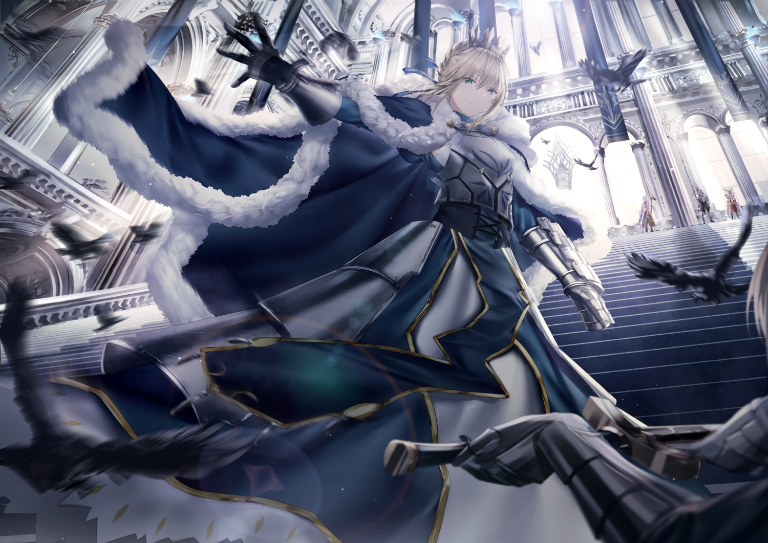 animal armor artoria_pendragon_(all) bird blonde_hair braids cape fate/grand_order fate_(series) feathers junpaku_karen lancelot_(fate) merlin_(fate/grand_order) mordred saber short_hair stairs sword weapon