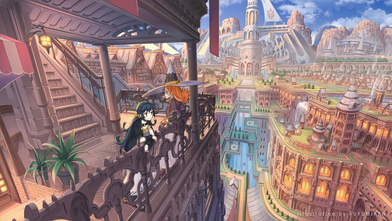 black_hair building city green_eyes hat long_hair nagi_itsuki orange_hair original red_eyes scenic watermark windmill