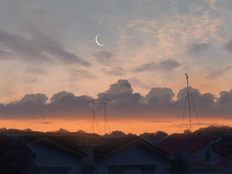 building city clouds mclelun moon nobody original sky sunset watermark