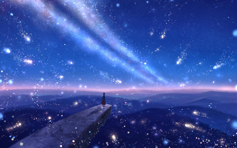 bou_nin cape clouds dress landscape original polychromatic scenic short_hair sky staff stars sunset