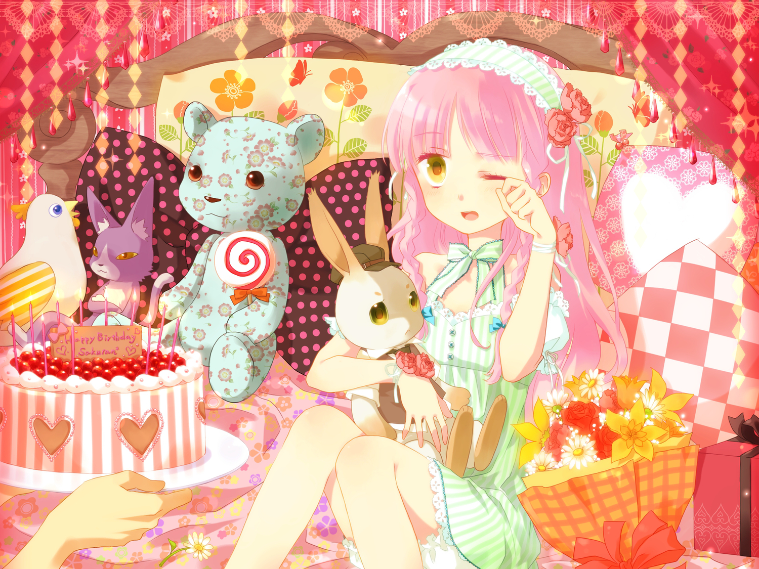 animal bed bird candy flowers lollipop okitune-sama original pink_hair rabbit teddy_bear