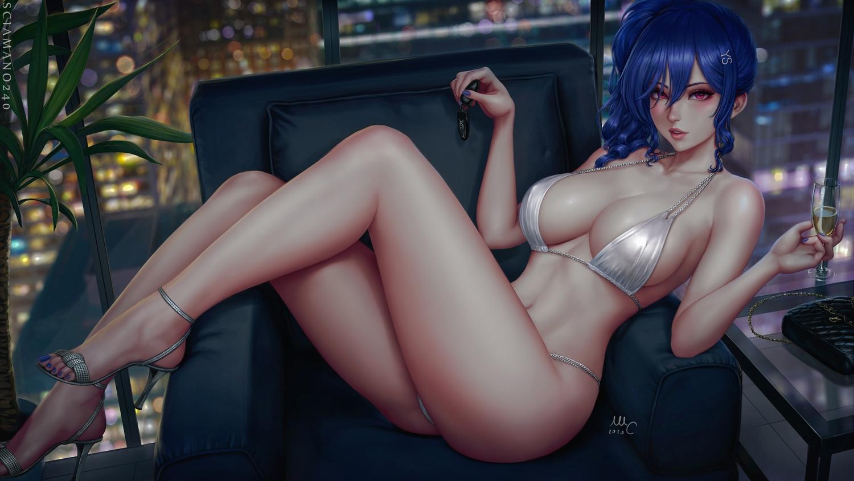 anthropomorphism azur_lane bikini blue_hair building city drink long_hair navel ponytail purple_eyes realistic sciamano240 signed st._louis_(azur_lane) swimsuit watermark