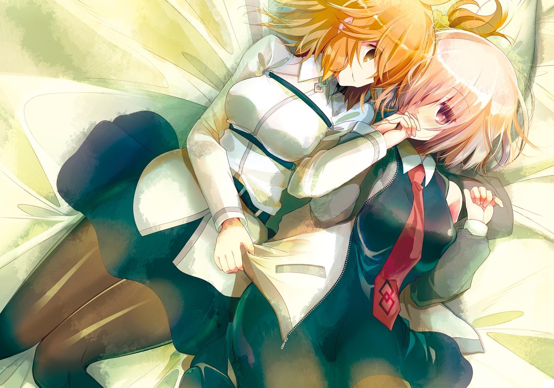 2girls bed fate/grand_order fate_(series) fujimaru_ritsuka_(female) mash_kyrielight orange_eyes orange_hair pantyhose pink_eyes pink_hair short_hair shoujo_ai skirt tie tokitsukaze_otoha