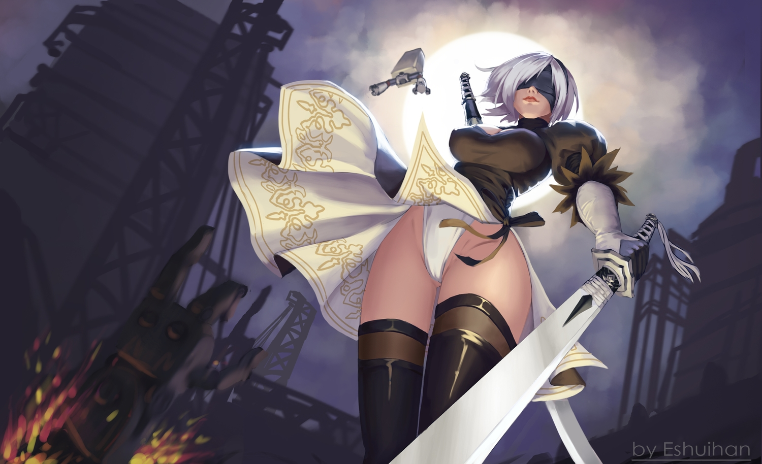 blindfold breasts cameltoe cleavage dress eshuihan gloves gray_hair headband katana leotard moon nier nier:_automata night pod_(nier:_automata) short_hair sword thighhighs weapon yorha_unit_no._2_type_b