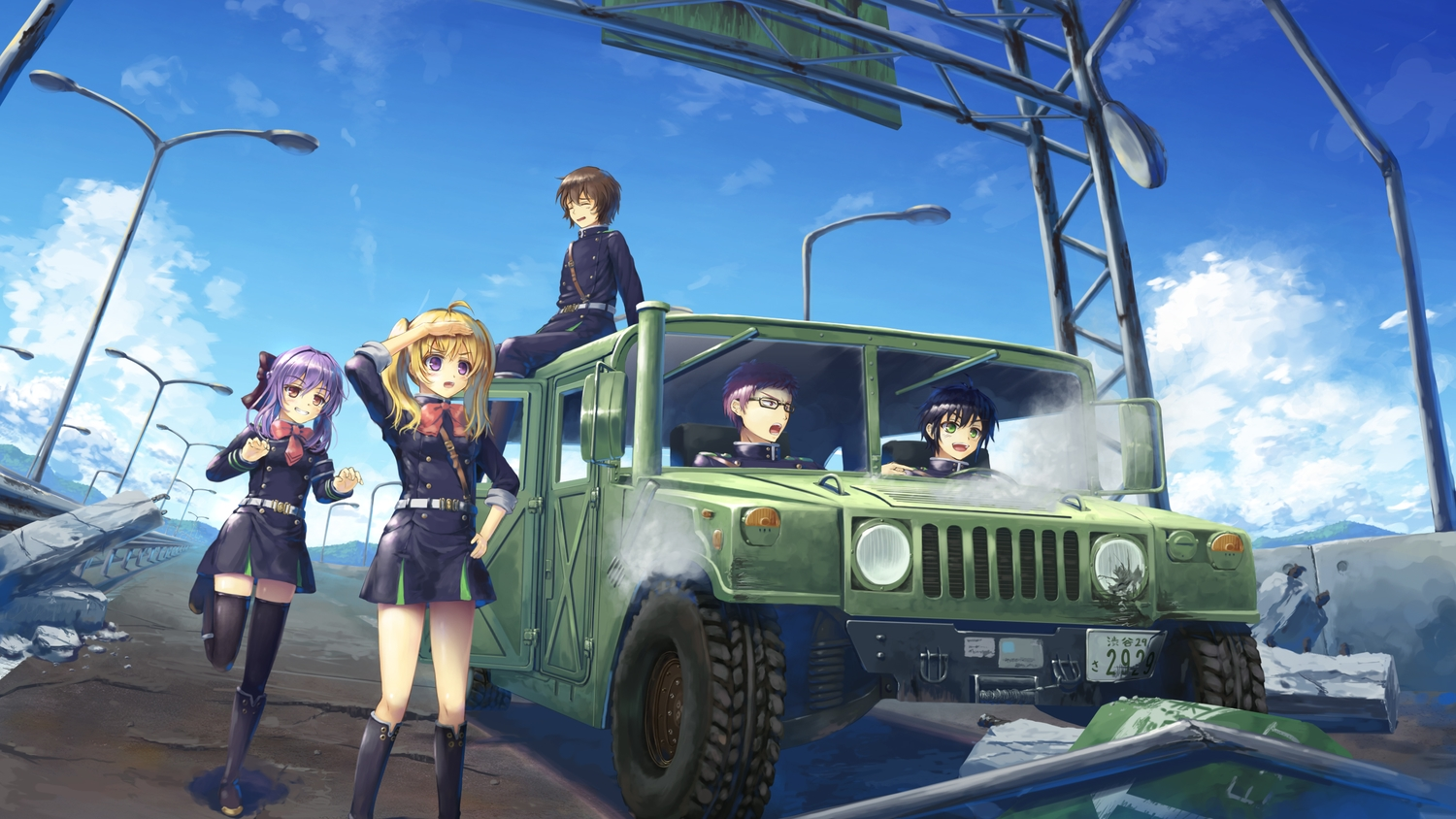 2girls black_hair blonde_hair blush bow brown_eyes brown_hair car clouds dress glasses group hiiragi_shinoa hyakuya_yuuichirou kimizuki_shihou kneehighs long_hair male owari_no_seraph psyche3313 purple_eyes purple_hair saotome_yoichi short_hair sky thighhighs twintails