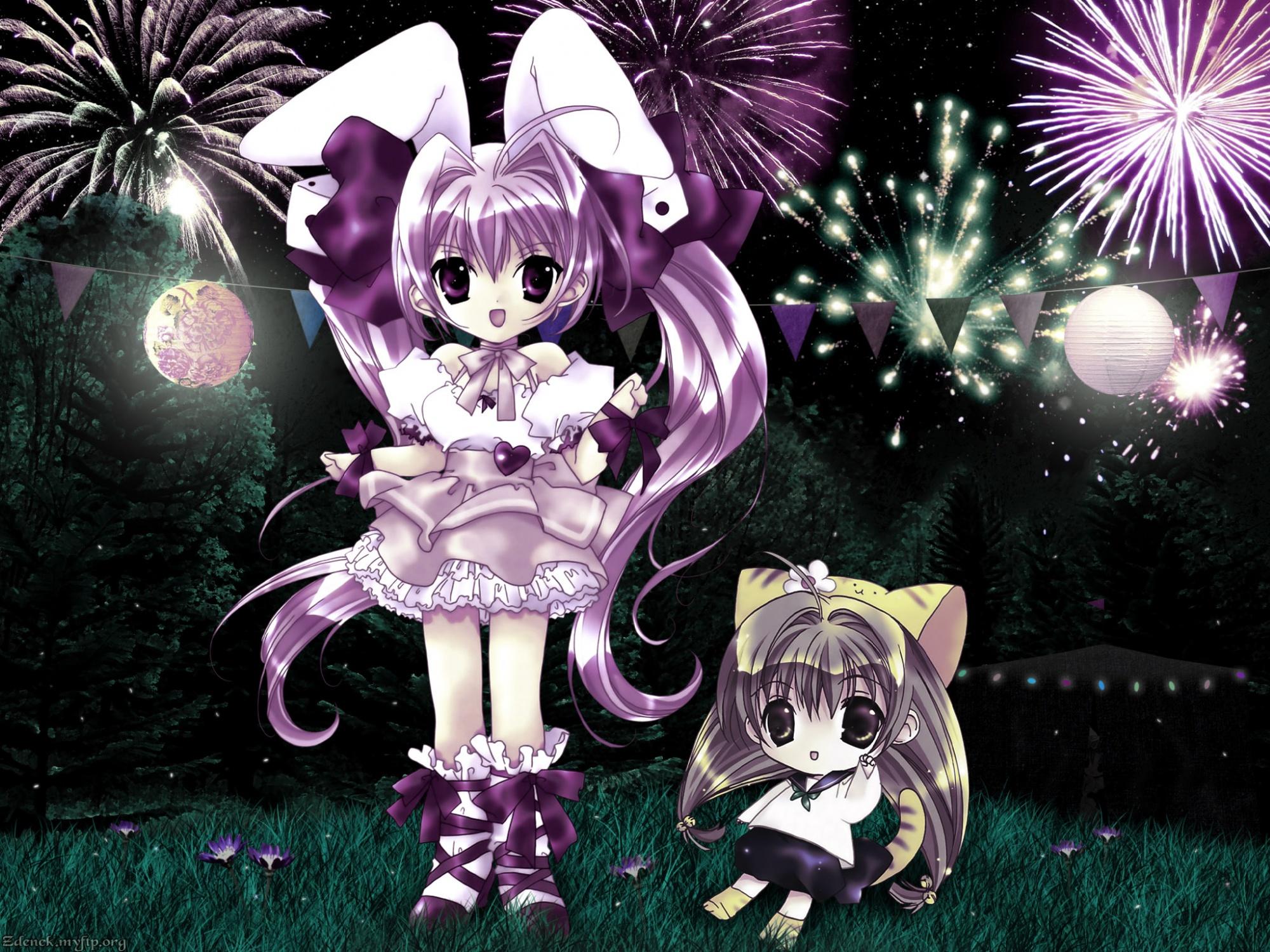 animal_ears bunny_ears chibi di_gi_charat fireworks puchiko usada_hikaru