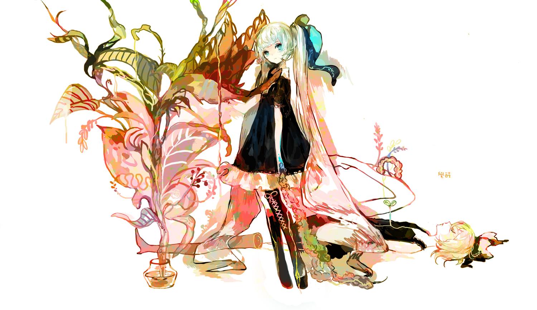 aqua_eyes flowers hatsune_miku kagamine_rin kneehighs moemoe3345 twintails vocaloid