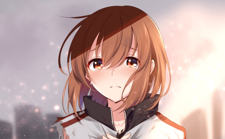 blush brown_eyes brown_hair close crying misaka_mikoto nemu_mohu short_hair tears to_aru_kagaku_no_railgun to_aru_majutsu_no_index torn_clothes