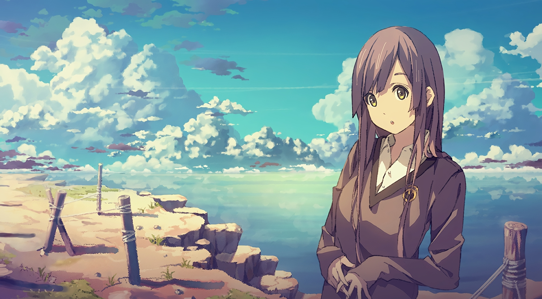 brown_eyes brown_hair clouds long_hair original scenic sky third-party_edit waifu2x yohan12
