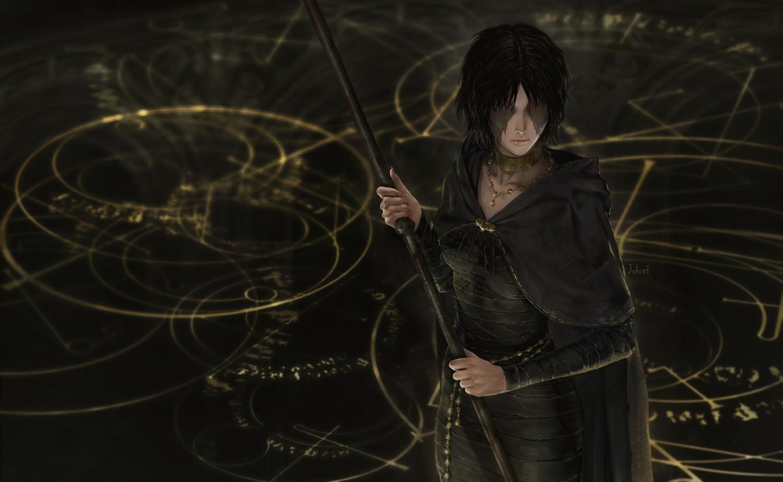 black_hair cape choker dark demon's_souls dress hoodie jdori magic maiden_in_black necklace realistic scar short_hair signed staff