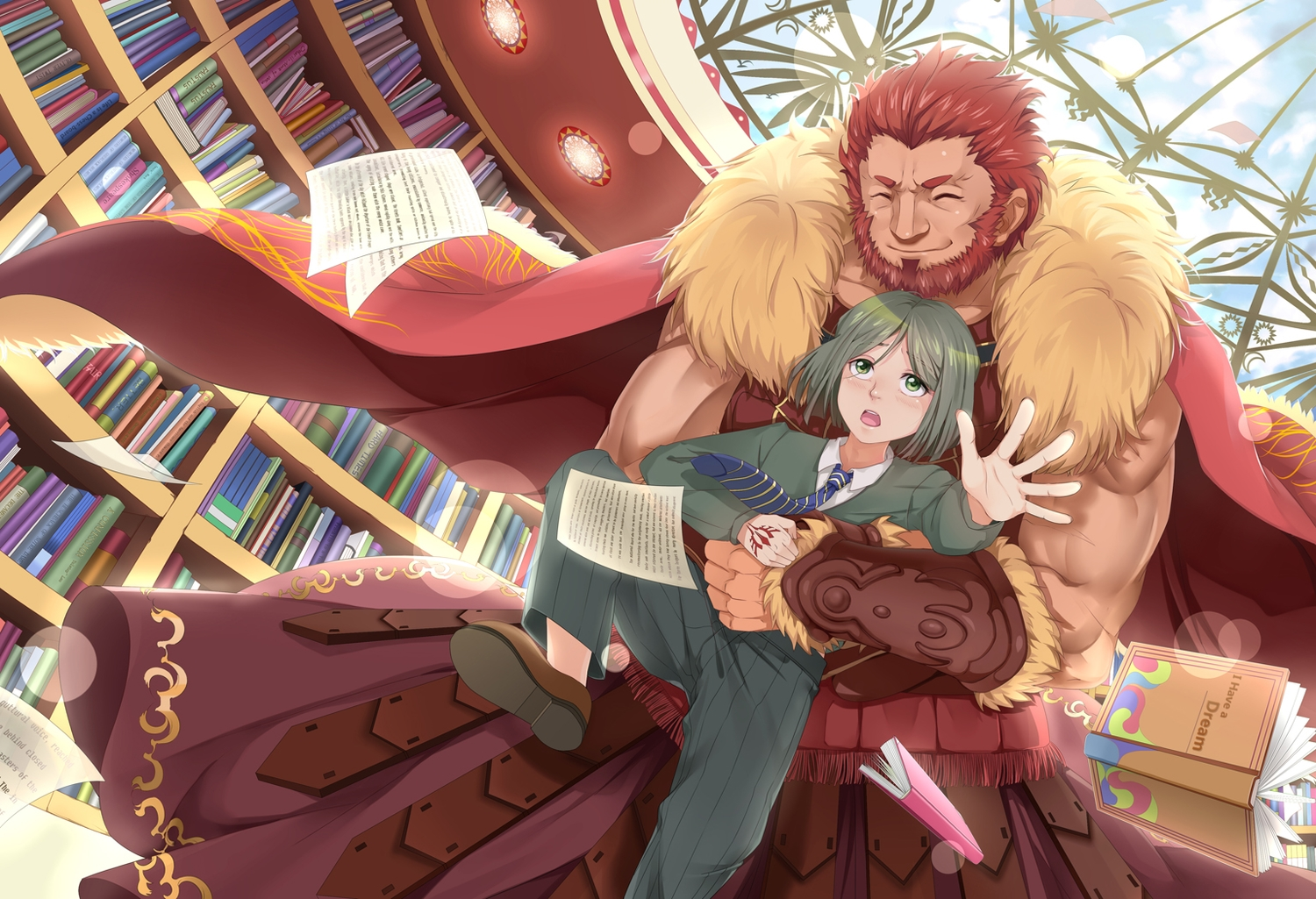alexander_(fate) all_male book brown_hair cape clouds fate_(series) fate/stay_night fate/zero green_eyes green_hair hongmao hug male paper short_hair sky tie waver_velvet