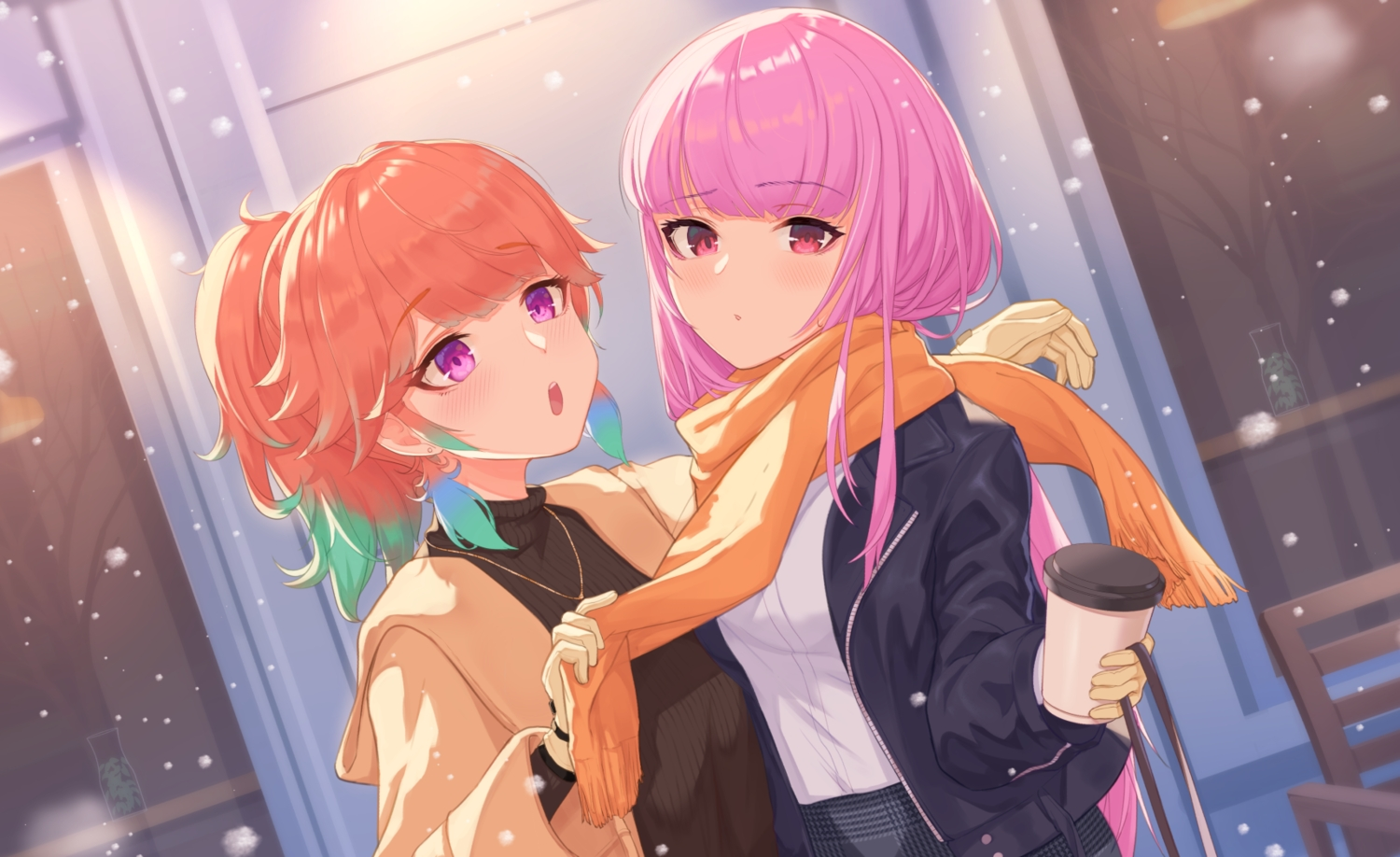 2girls blush drink gloves hololive hoodie long_hair makamati mori_calliope necklace orange_hair pink_hair ponytail purple_eyes red_eyes scarf shoujo_ai takanashi_kiara winter
