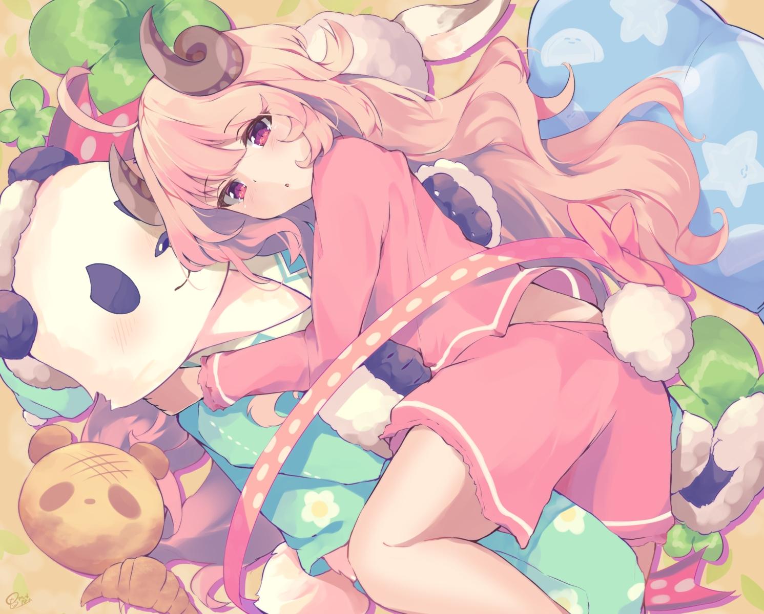 animal bear brown_hair chunithm horns k-doku long_hair pajamas panda tail