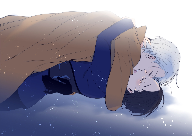 all_male black_hair gloves ichi_kotoko katsuki_yuuri kiss male shounen_ai tears viktor_nikiforov waifu2x white_hair yuri!!!_on_ice