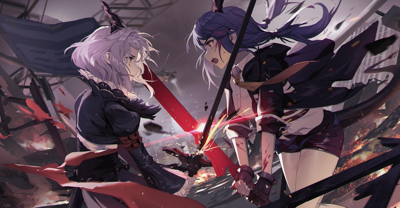 arknights ch'en_(arknights) horns long_hair short_hair sword tail talulah_(arknights) weapon yetecong
