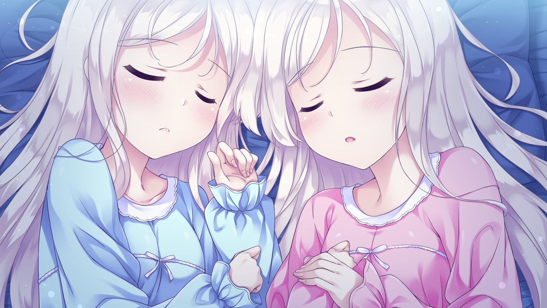 2girls close game_cg happiness!_2_re:lucks ichijou_mizuki ichijou_shizuki ko~cha long_hair pajamas sleeping twins white_hair windmill_oasis